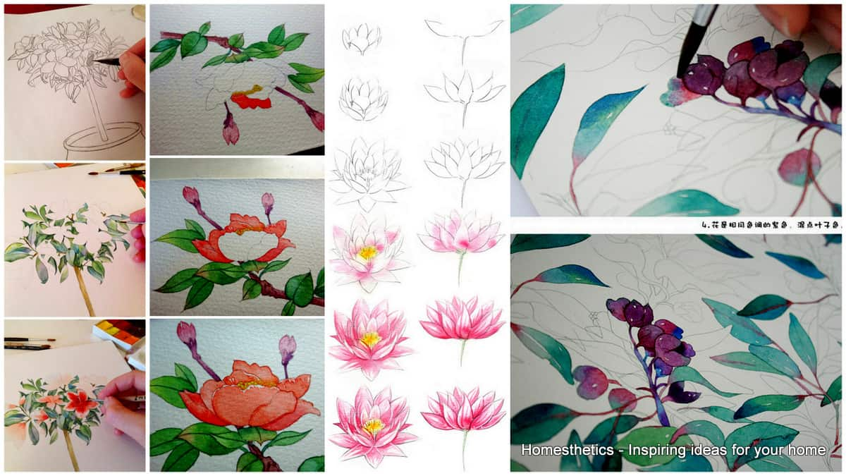 20 Delicate Colorful Watercolor Flowers Painting Tutorials In Images