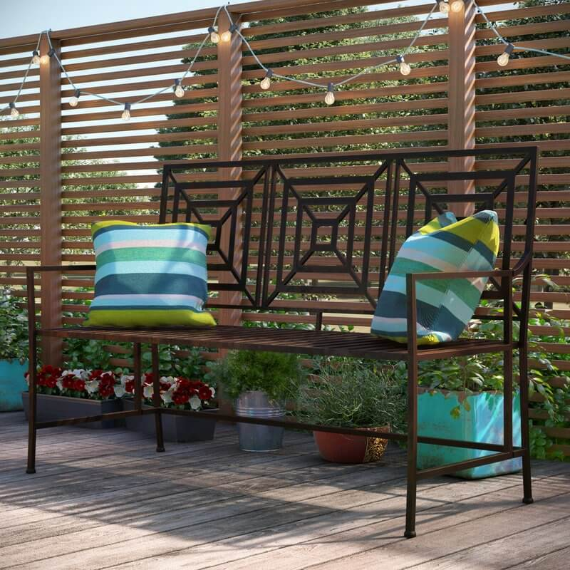 Iron Geometric Outdoor Bench