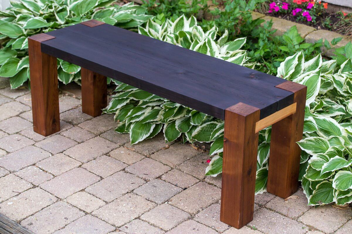 Shou Sugi Ban Outdoor Bench