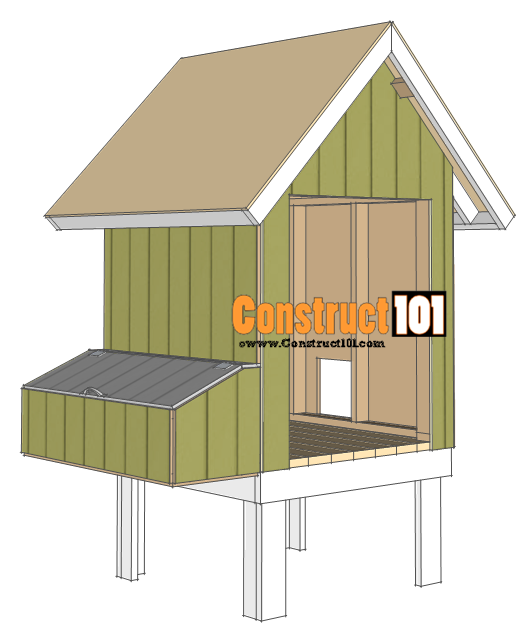 4x4 chicken coop plans roof deck.