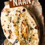 homemade soft pillowy naan recipe with ghee on side with text