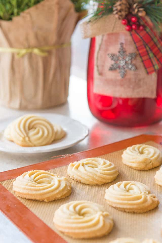 Shortbread Cookies - In Rows on a Silicone Mat with Swirl Shape