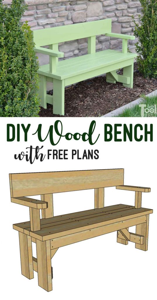 Build a cute wood bench with lumber from your local hardware store. This unique outdoor wood bench has a back and arm rests for comfort. Free building plans on hertoolbelt.