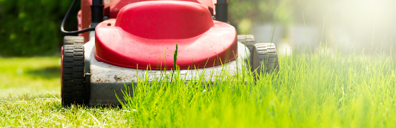shot of a red lawnmover cutting down the grass growth on a sunny day