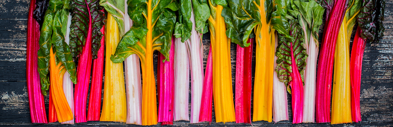 selection of freshly harvested Swiss Chard